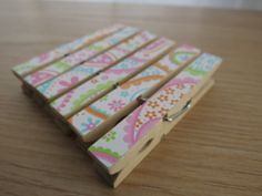 Set of 6  Decoupaged Clothespins Clips  by QueenvannaCreations, $3.00
