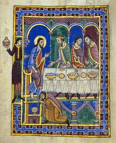 Feast in the House of Simon Levi, St Albans Psalter, c Hildesheim, Dombibliothek Ms Godehard Medieval Manuscript, Medieval Art, Illuminated Manuscript, Medieval Paintings, Book Of Kells, Mary Magdalene, Book Of Hours, Prayer Book, Naive Art