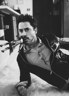 Robert Downey Jr. with Iron man in his mouth? uhh