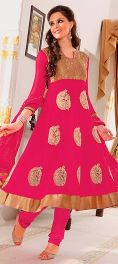 403986: Pink and Majenta color family unstitched Anarkali Suits.
