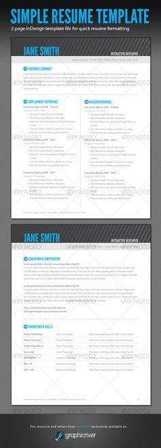 Simple Resume Template Set Simple, Simple resume template and Resume - adobe indesign resume template