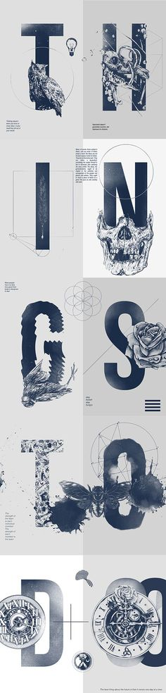 One color, big letters, illustrations in front of letter, geometric lines.