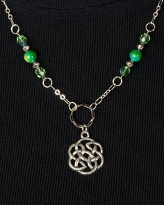 Pewter Celtic Knot Pendant,  Green Czech Glass Beads, Green Beads, Silver Beads, Chain by SuzetteGaleJewelry on Etsy