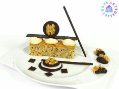 Dessert with walnuts with dark chocolate and coffee mousse