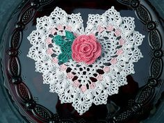 Heart-shaped Crocheted Doily:: Beautiful as an embellishment for a Valentine card or to top a treat box!
