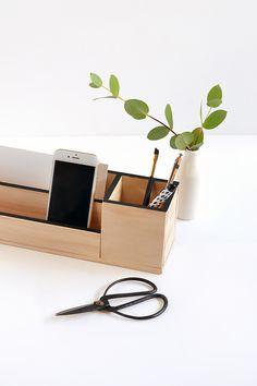 minimal wood desk organiser
