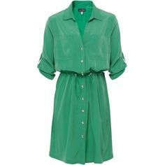 Women's Armani Jeans Shirt Tie Dress ($160) ❤ liked on Polyvore featuring dresses, vestidos, green, long v neck dress, 3/4 sleeve dresses, long green dress, green dress and 3 4 sleeve long dresses