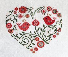 Cross stitch pattern, heart needlepoint, birds sampler, spring flowers Fabric: Aida 14, Creamy 94w X 86h Stitches Size: 14 Count, 17.05w X