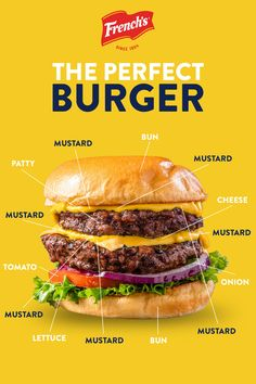 Fire up the grill, it is time to build your perfect burger. A must-have ingredient that always makes the stack: French's Yellow Mustard. Grilling Recipes, Beef Recipes, Cooking Recipes, Healthy Recipes, Snacks Saludables, Good Food, Yummy Food, Beef Dishes, Food Cravings