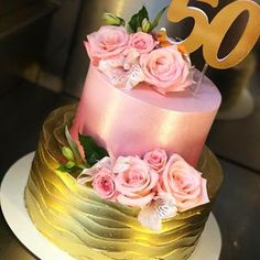 Image may contain: flower and food 50th Birthday Cake For Women, 60th Birthday Cakes, 50th Cake, Mom Cake, Dress Cake, Tiered Cakes, Cake Art, Beautiful Cakes, Cake Designs