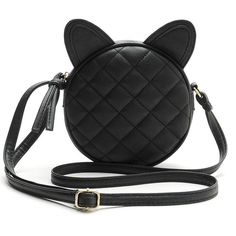 Black Leather Mini Crossbody Bag with Cat Ears