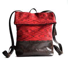 RUCK SACK - RED Silkscreen printed linen & leather