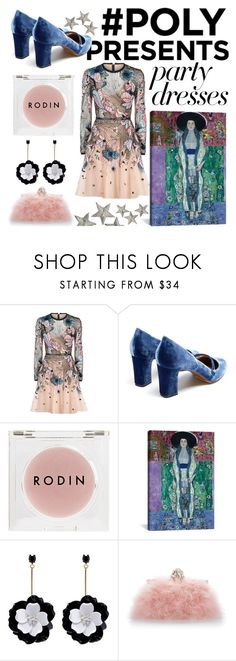 """#PolyPresents: Party Dresses #romanticstyle"" by no-face-fashion on Polyvore featuring Elie Saab, Tabitha Simmons, Rodin, Oscar de la Renta, Dolce&Gabbana, contestentry and polyPresents"