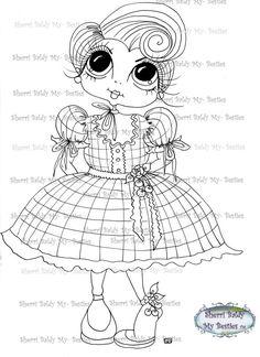 INSTANT DOWNLOAD Digital Digi Stamps Big Eyed Doll by SherriBaldy, $4.00