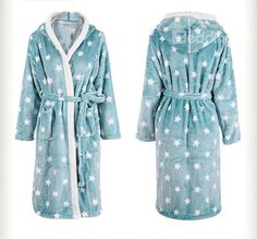 Comfy Stars Coral Fleece Bathrobe with Hat $50 also in pink