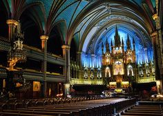 Free things to do in Montreal; Picture of the Notre-Dame Basilica in the heart of Old Montreal