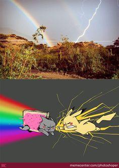 Nyan Cat vs Pikachu (Rainbow vs Lightning Bolt) - Funny Pokemon - Funny Pokemon meme - - Lo que la gente ve (ariva) Lo que yo veo (abajo) The post Nyan Cat vs Pikachu (Rainbow vs Lightning Bolt) appeared first on Gag Dad. Nyan Cat, Pikachu Cat, Really Funny Memes, Stupid Funny Memes, Funny Relatable Memes, Funny Geek, Hilarious, Pokemon Funny, Pokemon Go