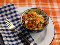 """Chicken Fried Rice (One More Time, It's a Chicken Dinner) - Valerie Bertinelli, """"Valerie's Home Cooking"""" on the Food Network. Best Chicken Recipes, Rice Recipes, Cooking Recipes, Cooking Food, Food Food, Rice Food, Crab Recipes, Skillet Recipes, Keto Recipes"""