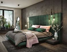 Gorgeous Art Deco Bedroom Decor - Bed Headboard - Ideas of Bed Headboard - Cozy green bedroom beautiful bedroom design channel tufted bed high headboard bed restoration hardware bed Green Bedroom Design, Bedroom Green, Home Bedroom, Modern Bedroom, Bedroom Ideas, Master Bedrooms, Minimalist Bedroom, Art Deco Bedroom, Pretty Bedroom