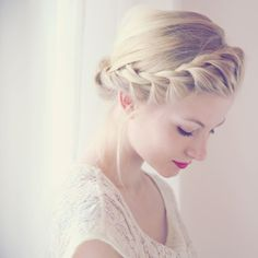 """French"" twist braid around head to form crown. So elegant. ""French"" twist braid around head to form crown. So elegant. Braided Hairstyles Updo, My Hairstyle, Pretty Hairstyles, Wedding Hairstyles, Braided Updo, Braided Crown, Crown Braids, Bun Braid, Hairstyle Tutorials"
