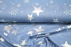 Stoff Blumen - Sommer Sweat Glitzer Sterne silber blau 3489/006 - ein Designerstück von Nordlicht-Stoffe bei DaWanda