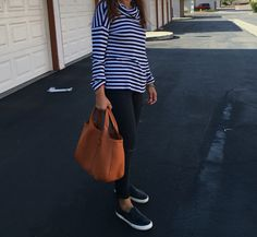 Tods shopping bag, Gap skinny jeans, and Lauren by Ralph Lauren leather slip ons...
