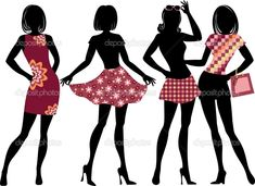 Woman in Dress Vector Silhouette | Silhouette of women with model proportions - Stock Illustration
