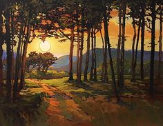 Abstract Landscape, Landscape Paintings, Paintings I Love, Nocturne, Tree Art, Art Techniques, Beautiful Landscapes, Painting Inspiration, Amazing Art