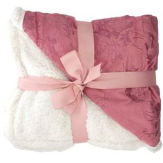 "Rose color! Sherpa Throw Blanket 50"" x 60"" Plush Fleece Reversible Floral Pattern Fuzzy Soft - Walmart.com"