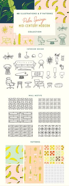 Palm Springs MidCentury Graphic Bundle - 40 Illustrations inspired by Palm Sprin. - Palm Springs MidCentury Graphic Bundle – 40 Illustrations inspired by Palm Springs and Joshua Tre - Palm Springs Häuser, Palm Springs Style, Palm Springs California, Southern California, Palm Springs Mid Century Modern, Mid Century Modern Art, Palm Tree Icon, Mid-century Modern, Tree Graphic