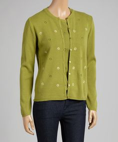 Another great find on #zulily! Sage Embroidered Wool-Blend Cardigan & Tank #zulilyfinds