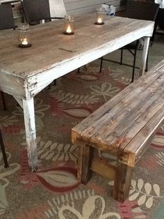 rustic bench by Beeechic on Etsy, $210.00
