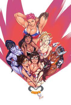 Faymantra,artist,Overwatch Ero,Overwatch,Blizzard,Blizzard Entertainment,фэндомы,Tracer,Mei (Overwatch),D.Va,Widowmaker,Pharah,Mercy (Overwatch),Symmetra,Zarya