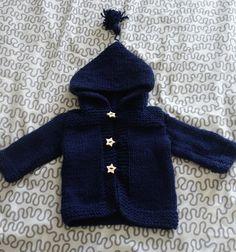 032b82581ea4b Gilet Bébé à capuche bleu marine Taille 3 6 mois - Le tricot dans tous ses  états
