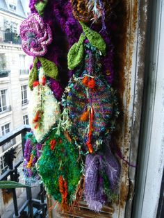 handmade knitted crocheted vegetal fairy scarf wall by lamamadesmatous, $140.00