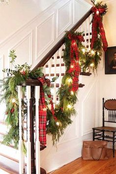 Here are the Christmas Stairs Decoration Ideas. This post about Christmas Stairs Decoration Ideas was posted under the Home Design  Garland For Staircase, Christmas Stairs Decorations, Diy Christmas Garland, Tartan Christmas, Christmas Tree Farm, Christmas Time Is Here, Christmas Home, Christmas Ideas, Xmas