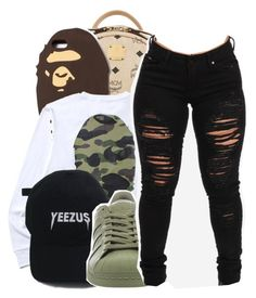 """""""I mean who am I to hold ya past against you?"""" by shilohluvsu ❤ liked on Polyvore featuring MCM, A BATHING APE and adidas"""
