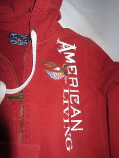 Red Hooded Zipper Sweatshirt American Living SZ M Youth, Solid, Cotton USA colo #AmericanLiving #Everyday