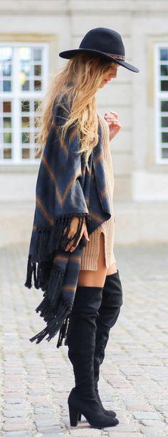 #winter #fashion / camel knit dress + pattern print poncho