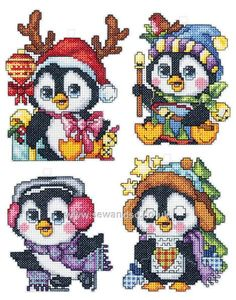 Buy Plastic Canvas Penguin Christmas Ornaments, Set of 4 Cross Stitch Kit Online at www.sewandso.co.uk