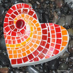 Red Hot Heart Mosaic Stepping Stone- brendapokorny