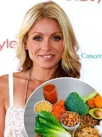 """Kelly Ripa's Diet Plan: """"If I'm having a sliced chicken breast, I'd put it on a bed of simple sauteed spinach with a little bit of lemon and olive oil."""""""