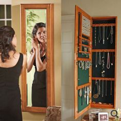 Jewelry Cabinet Revealed Behind Mirror