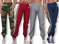 Pinkzombiecupcakes' Nike Athletic Sweatpants With Side Rainbow Stripe - Sims 4 - BakedChicken Sims 4 Toddler Clothes, Sims 4 Cc Kids Clothing, The Sims 4 Pc, Sims Four, Sims 4 Tsr, Sims Cc, Sims 4 Characters, Sims4 Clothes, Sims 4 Cc Packs