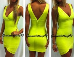 Celebrity style bodycon/bandage dress neon green XS/X/M/L / Geminiclothing90