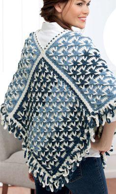 Polish Stars Poncho Crochet pattern.
