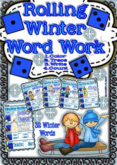 3 winners for this special product for Winter season - You will find nice worksheets to play games learning words related to Winter. 3 winners can have it!.  A GIVEAWAY promotion for Rolling Winter Word Work for Kinders/3rd Grade from magischool on TeachersNotebook.com (ends on 12-24-2013)