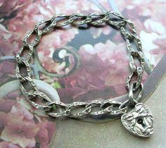 Antique North Wind Padlock Heart Charm Bracelet Victorian lock chase links Rare