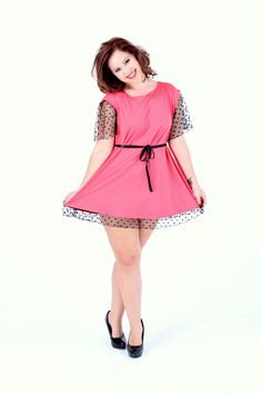 Nightie with Drop Sleeve in Coral & Black Polka Dot Mesh