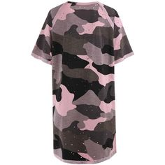 Plus Size Ripped Camouflage Print Tunic Tee Pink 4xl (€10) ❤ liked on Polyvore featuring tops